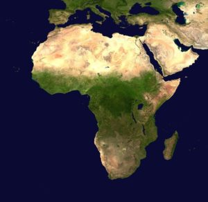 A satellite photo of the African continent
