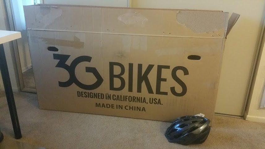 A cardboard bike box