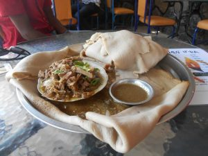 Tibs with injera in Ethiopia
