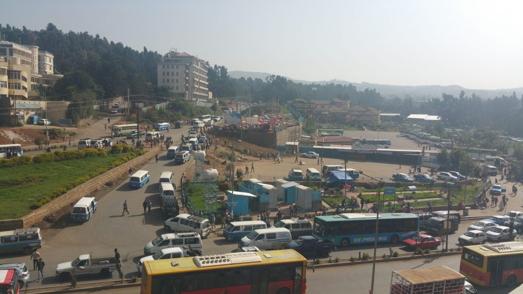 A minibus station in Addis Ababa, Ethiopia