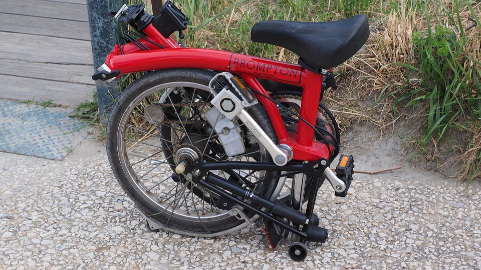 Folded Brompton folding bike