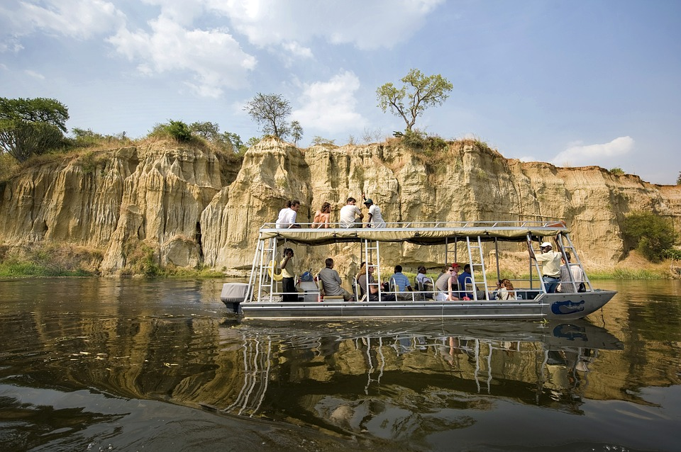Boat safari in Murchison National Park, Uganda