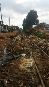 Railroad tracks running through Kibera