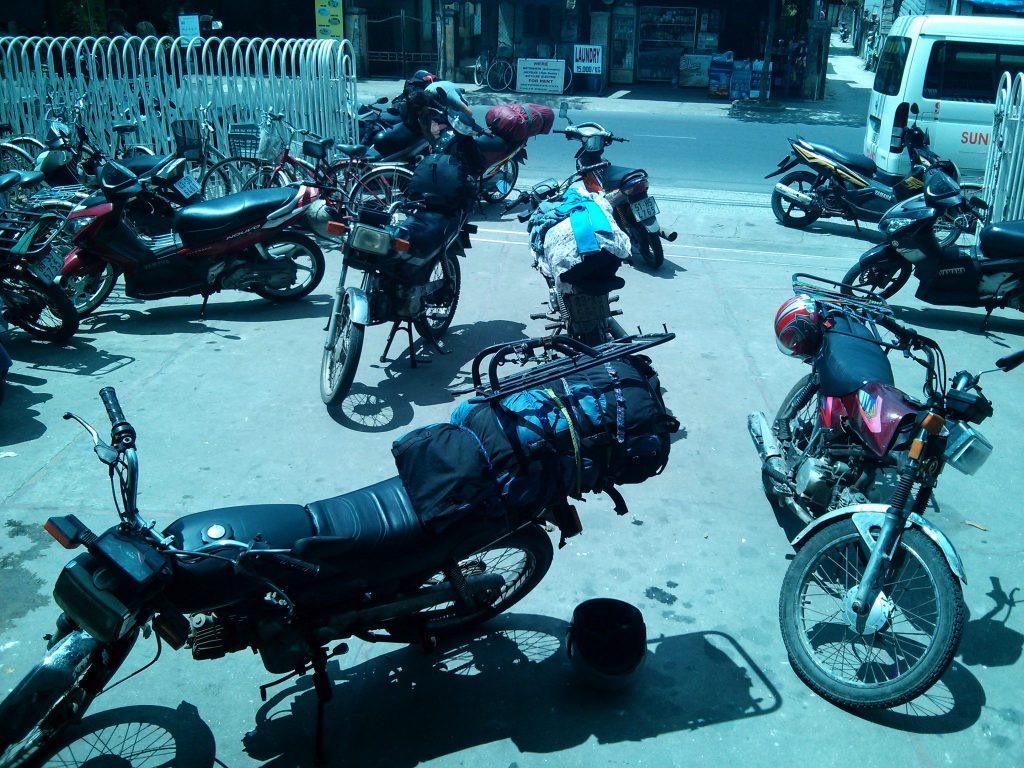 My gang's bikes outside a hostel in Hoi An