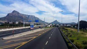 The view of Table Mountain while entering Cape Town
