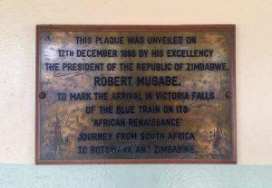 Plaque at the Victoria Falls Train Station