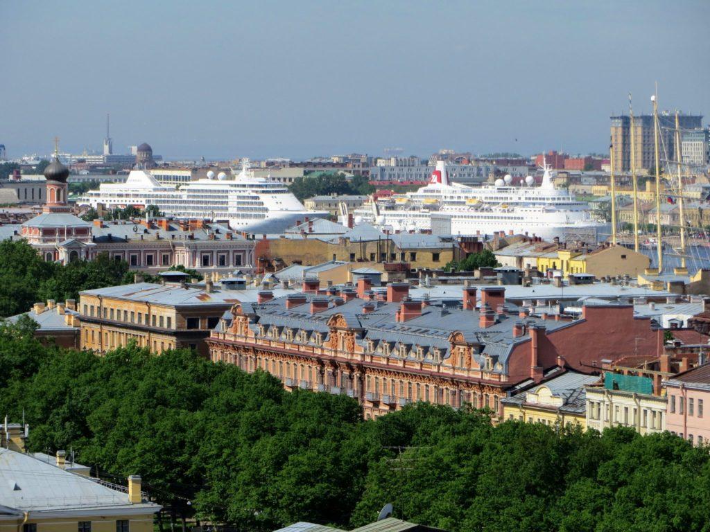 Ferries docked in St. Petersburg Harbor