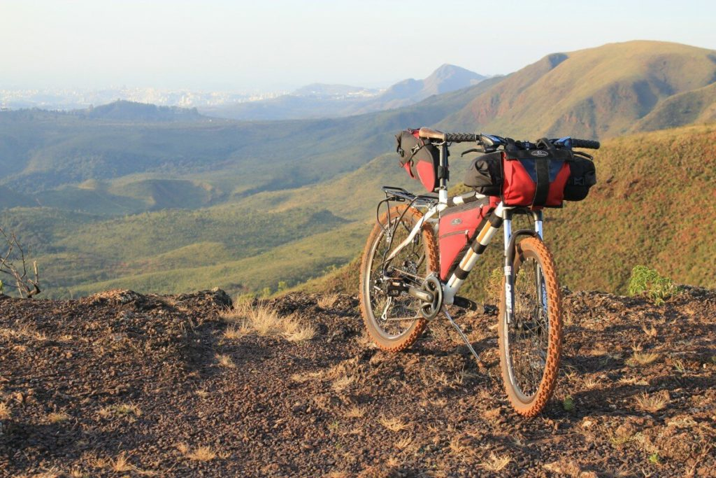 Mountain bike with bikepacking bags