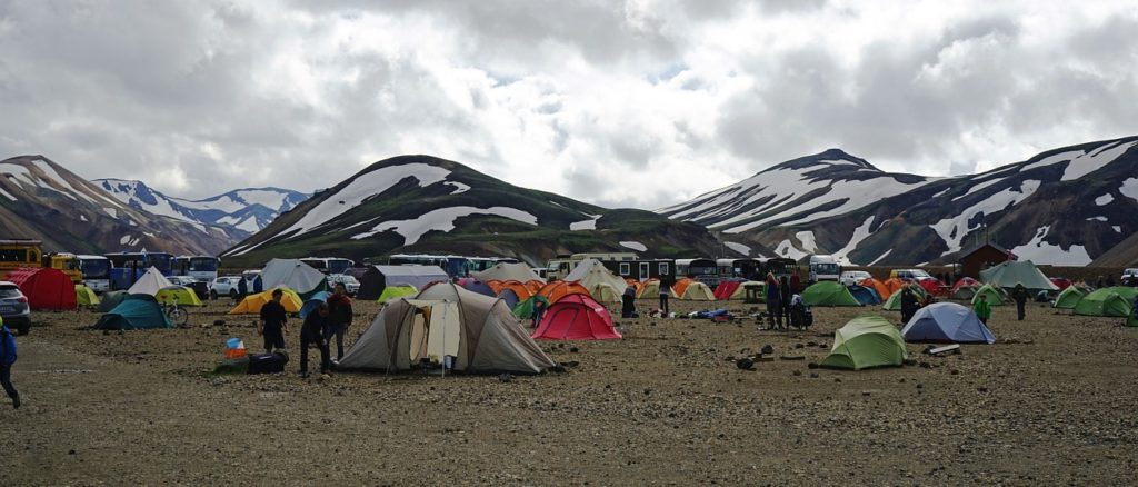 Tents set up at a campground in Iceland