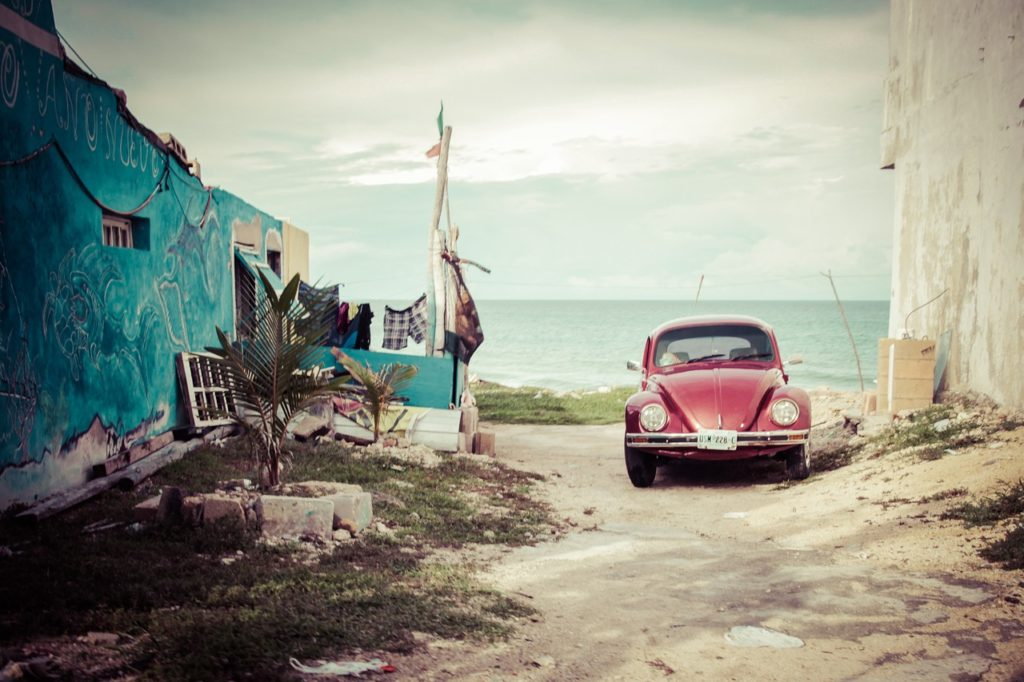 a car parked on the beach in Mexico