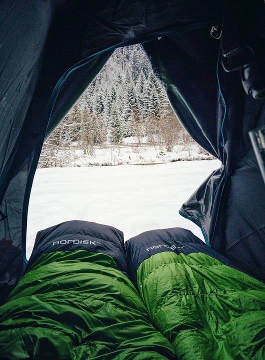 Sleeping bag in a tent in the snow