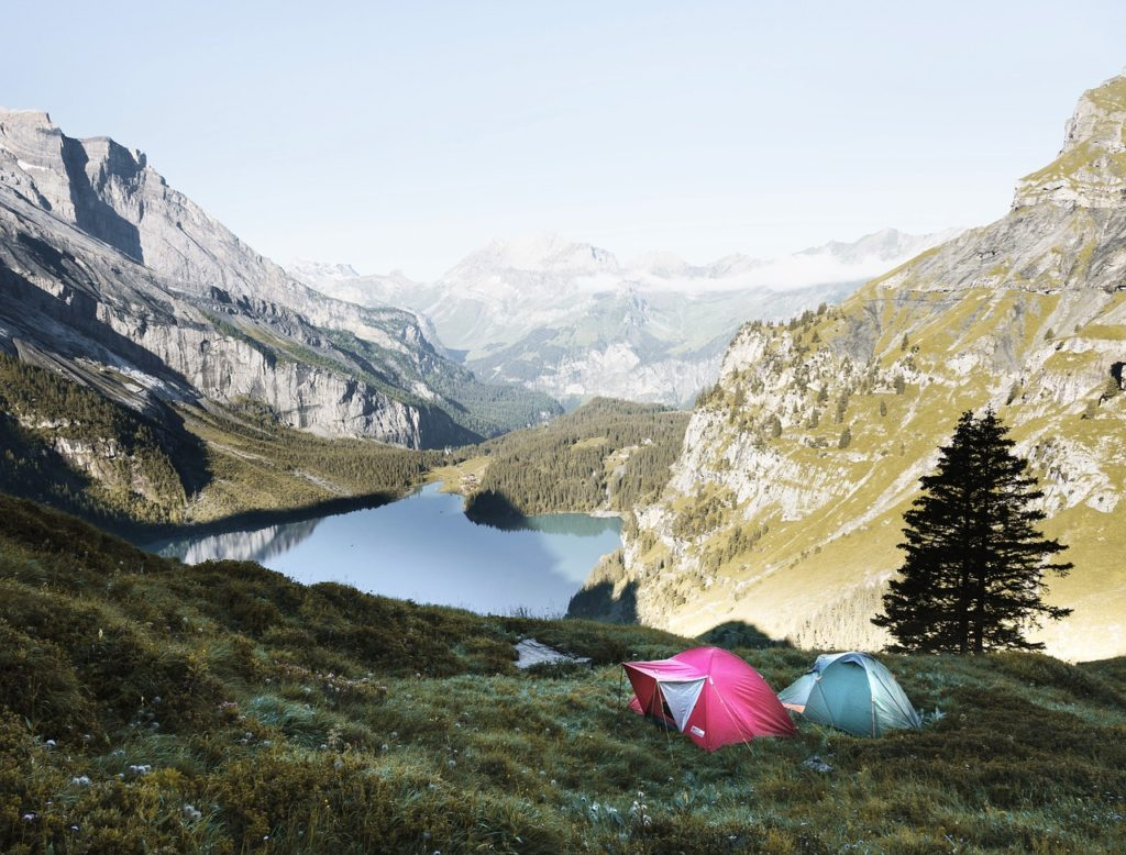 tents pitched on a hillside