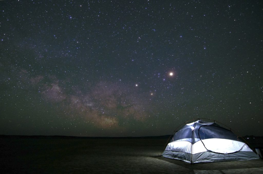 Tent set up under the milky way