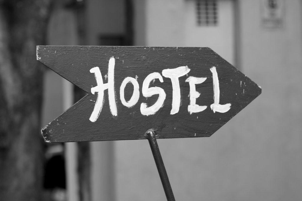 a hostel sign