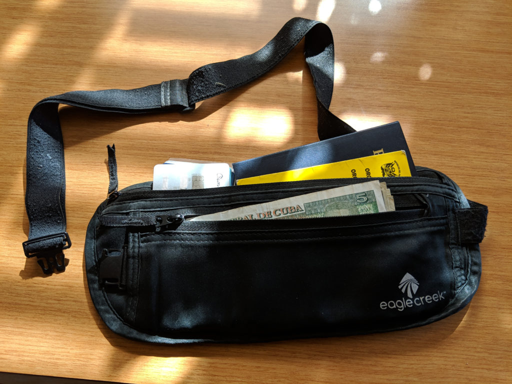 Eagle creek silk money belt with passport, cash, and credit cards