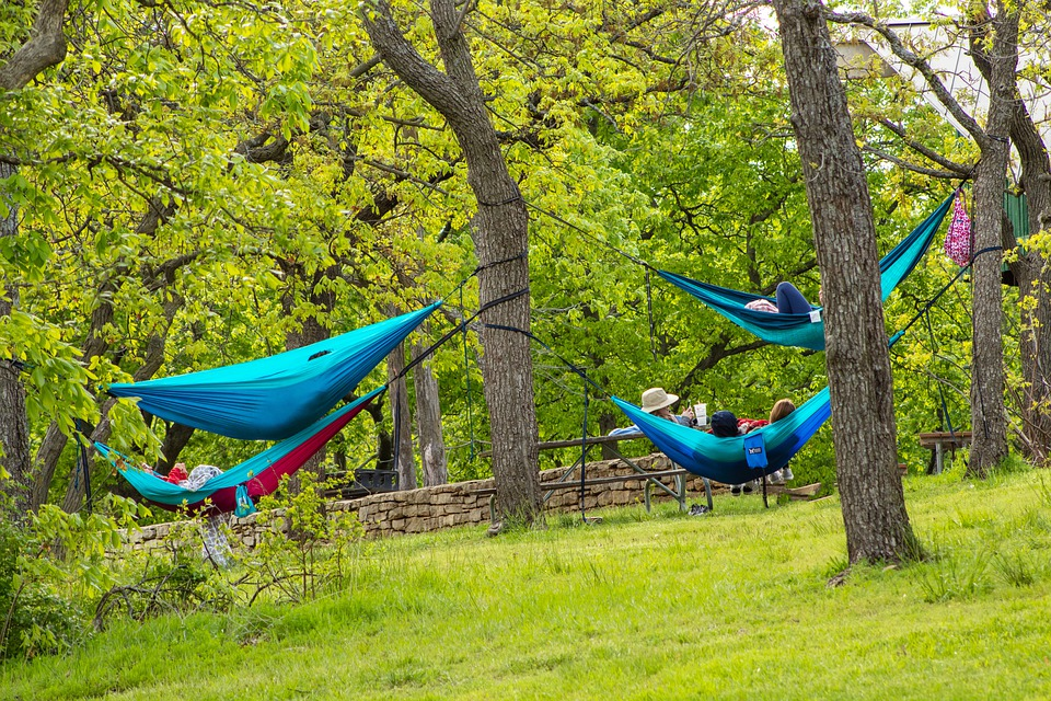 group of hammock campers