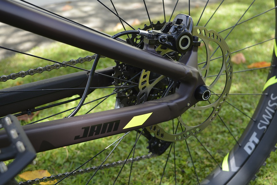 Rear disc brake on a mountain bike