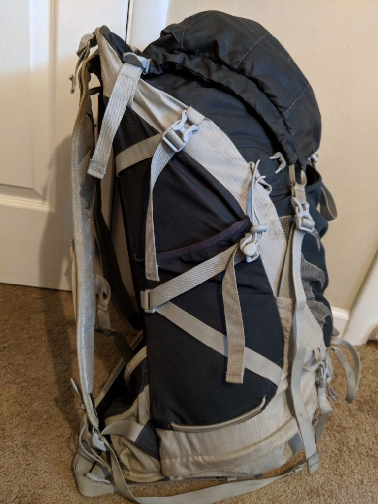 Side view of the Osprey Talon 44 Hiking Backpack
