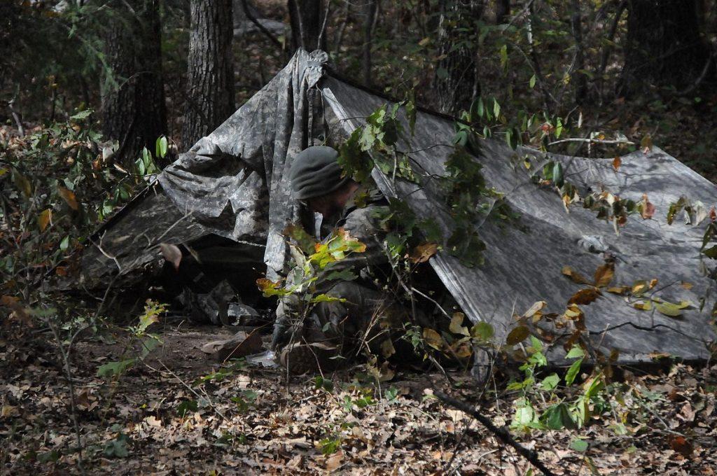 A frame camping tarp pitch