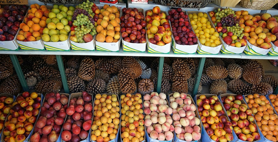A tropical fruit stand