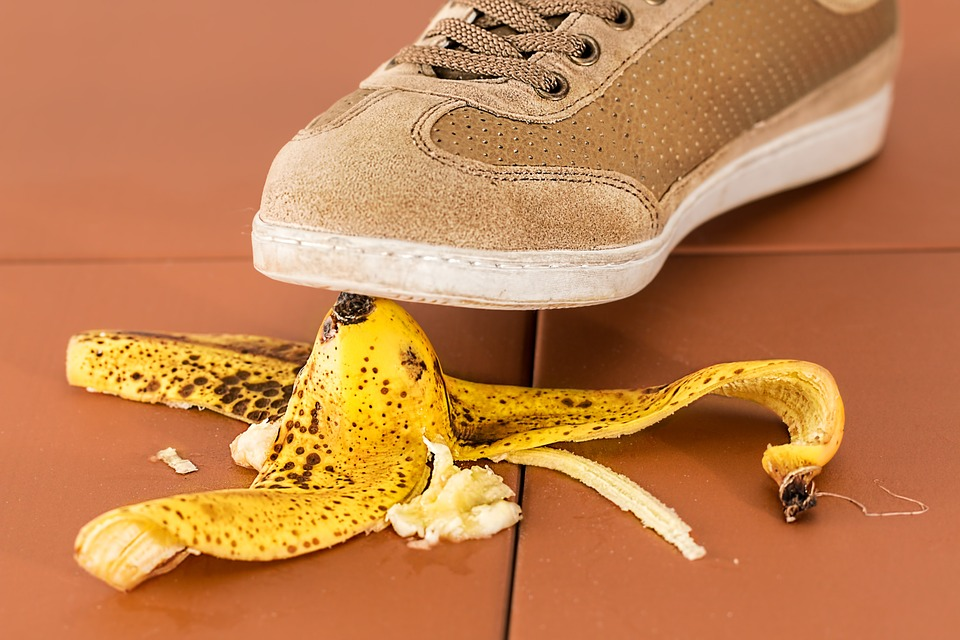 trip and fall over a banana peel