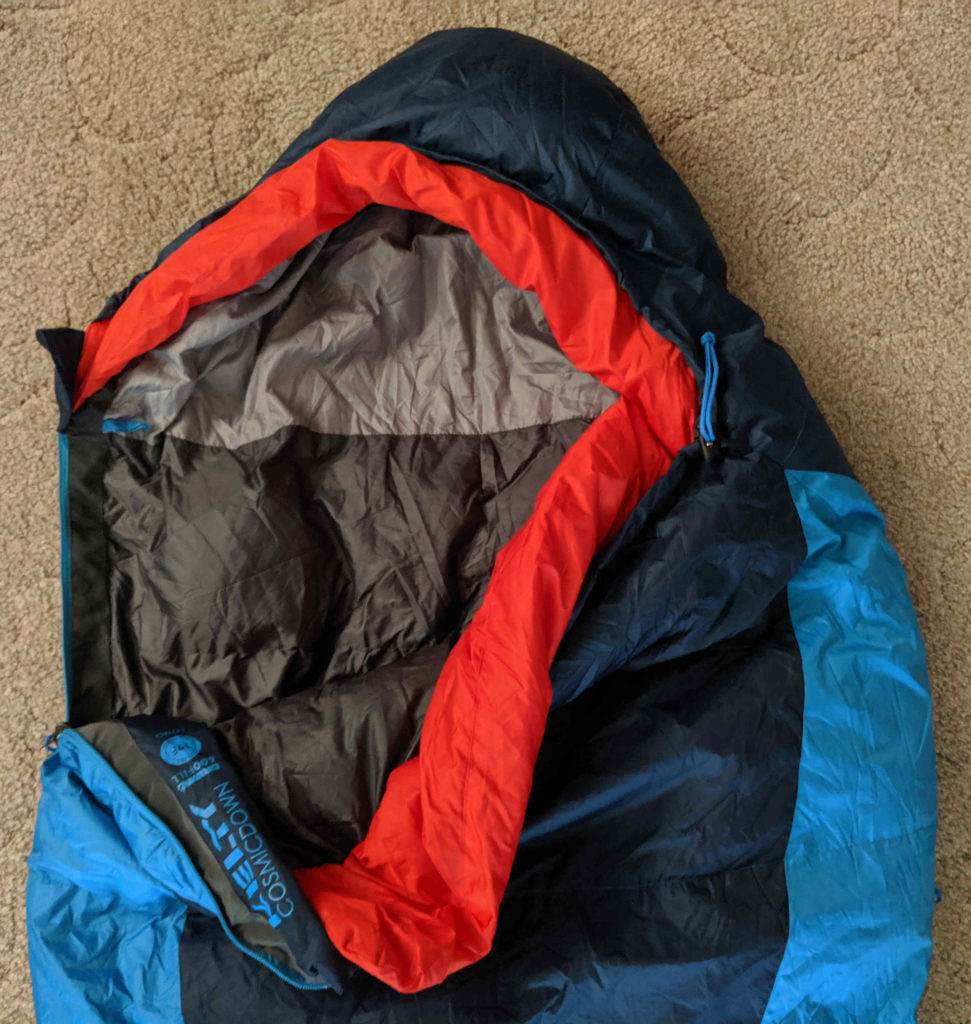 The hood and draft collar of the Kelty Cosmic 20
