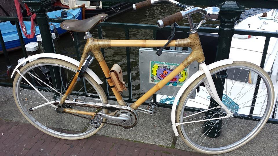 upright handlebars on a bamboo bike