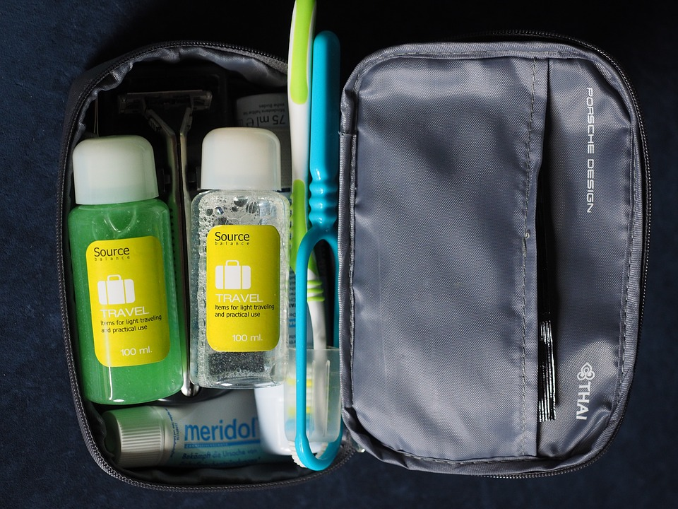 a toiletries kit