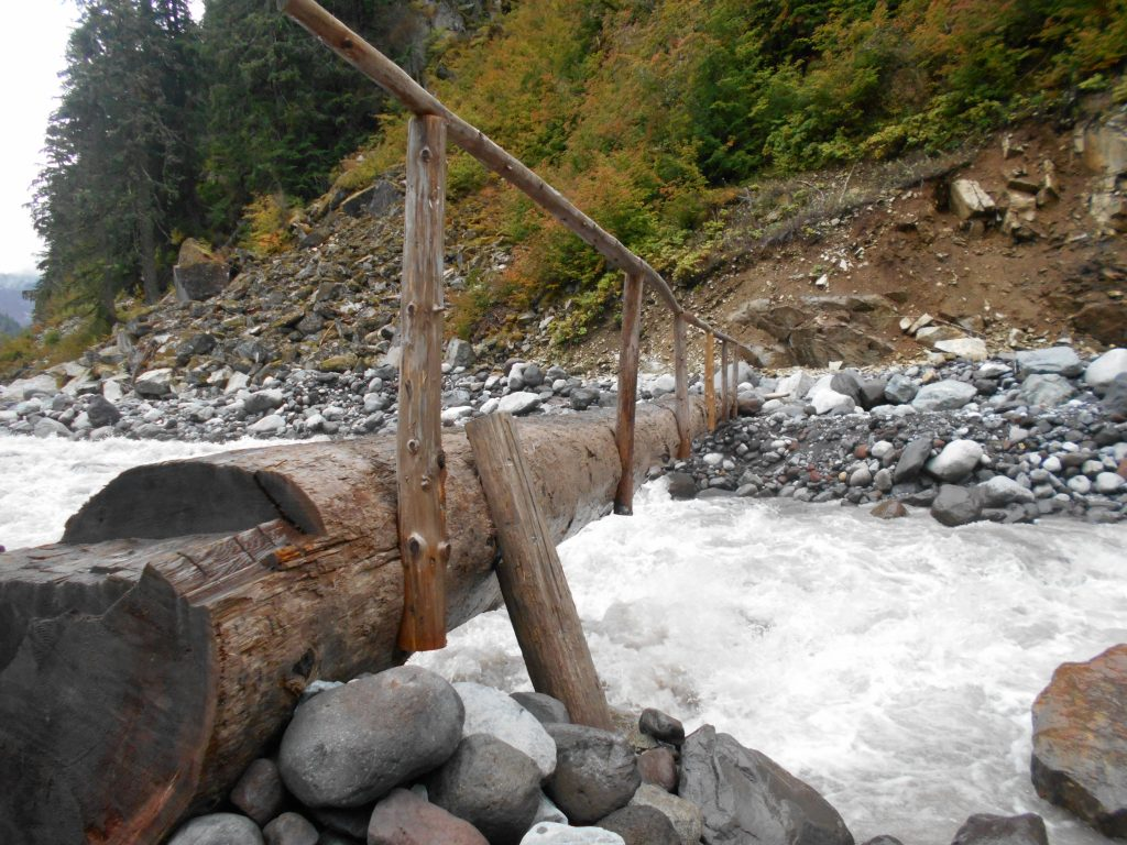 a log bridge on the Wonderland Trail