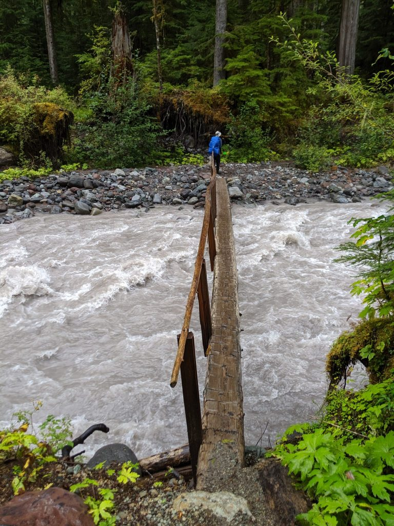 a river crossing on the Wonderland Trail