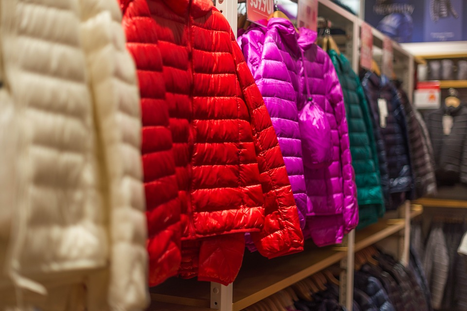 Down jackets hanging in a store