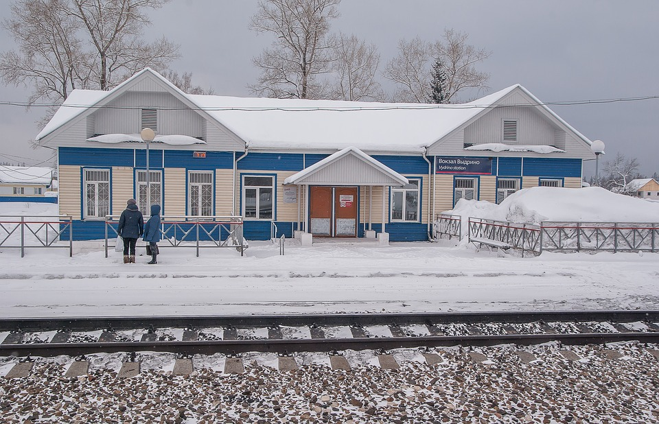 A train station along the trans-Siberian railway