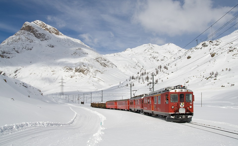 The Bernina Express Train in Switzerland