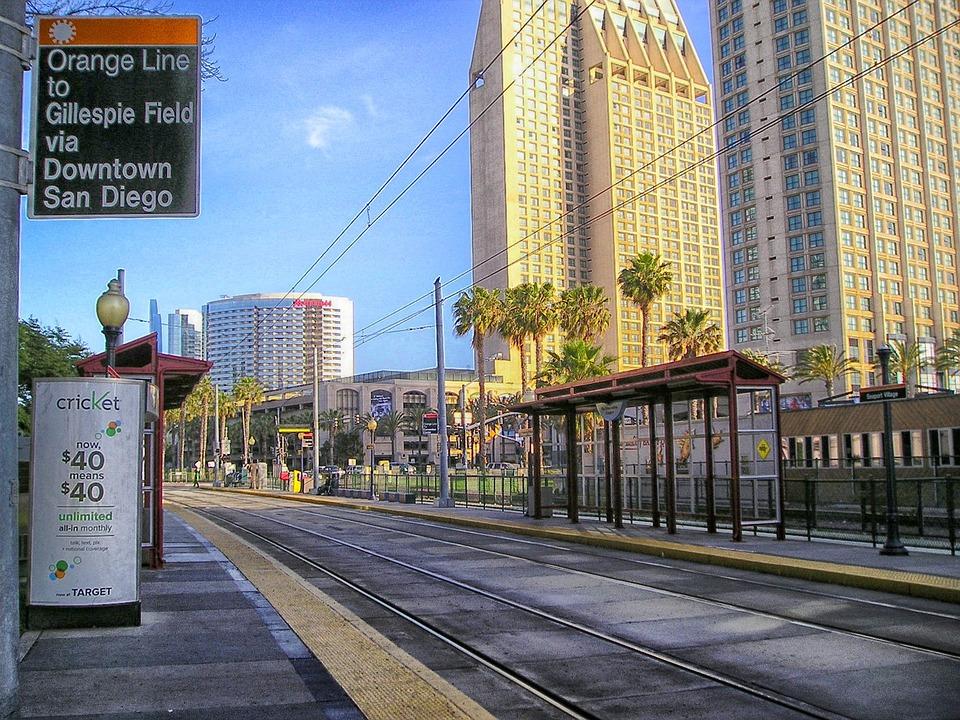Trolley station in San Diego