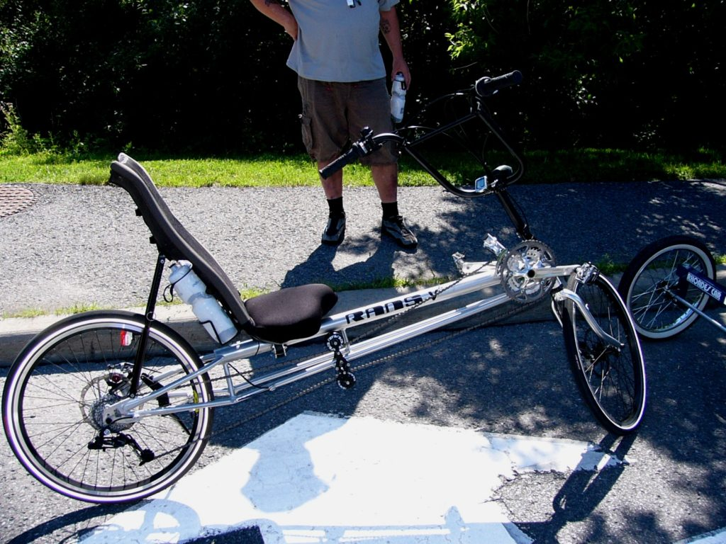 long wheelbase recumbent bike with over seat steering
