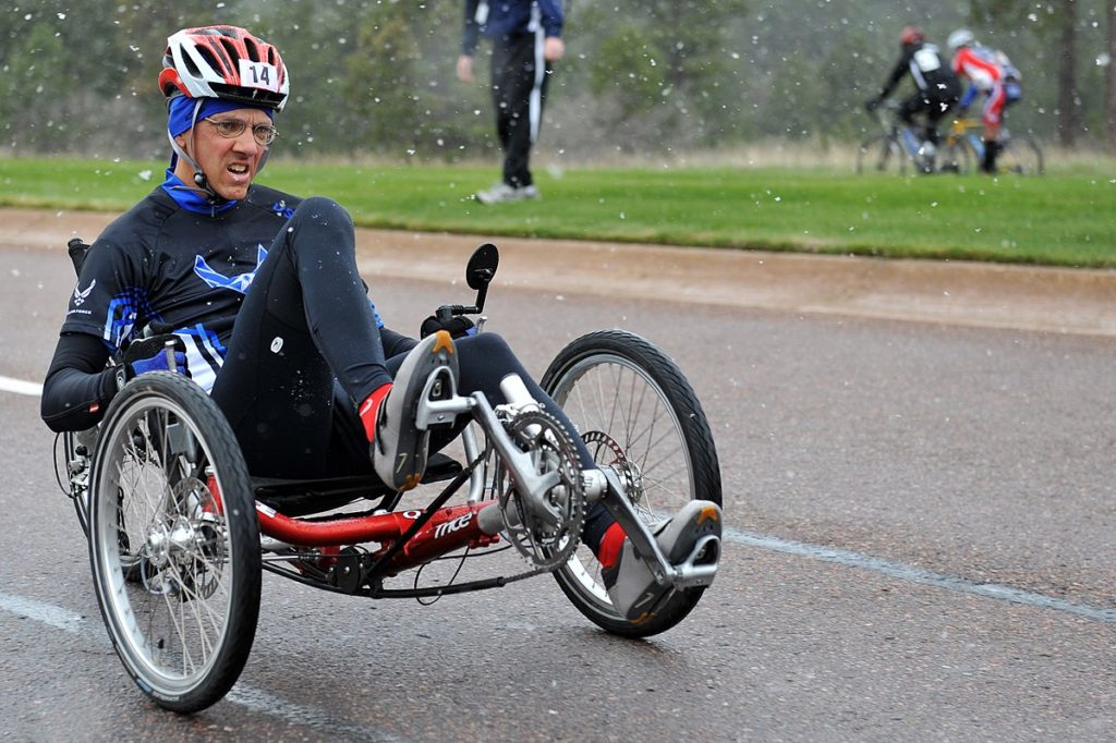 riding a recumbent bike in wet weather