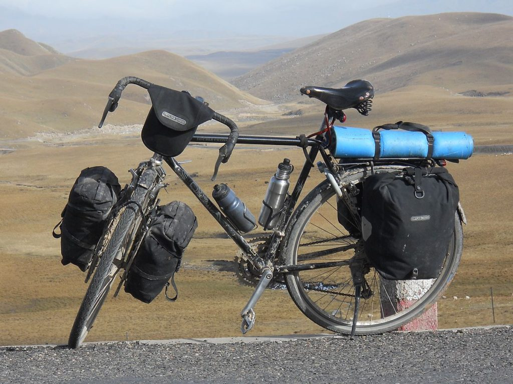 touring bike with racks and panniers