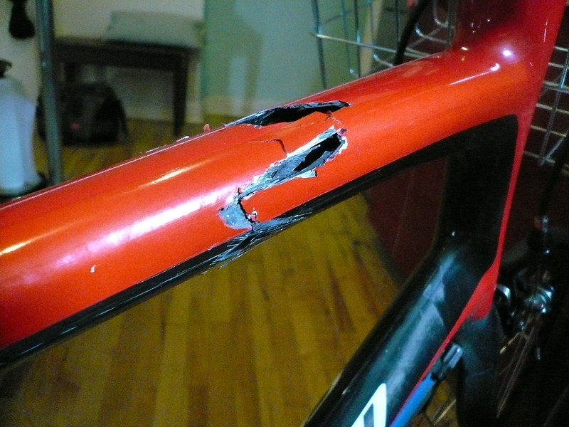 a broken carbon fiber bicycle frame