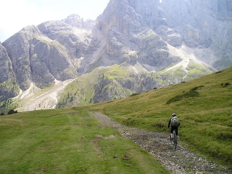 mountain biking on a rocky trail