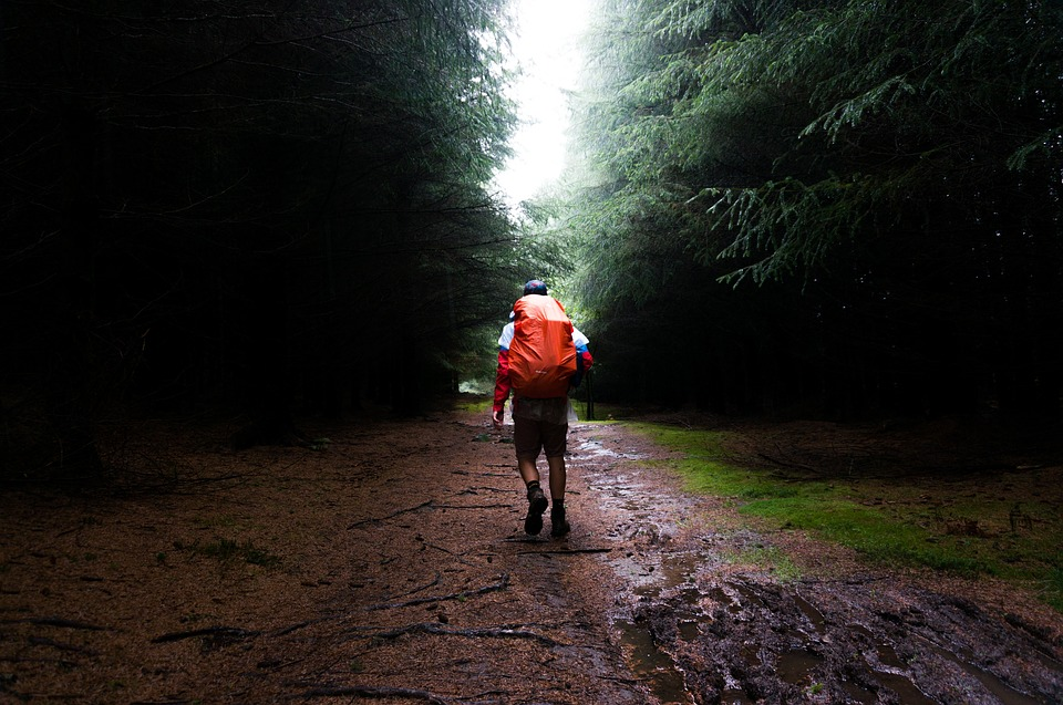 A hiker with a backpack