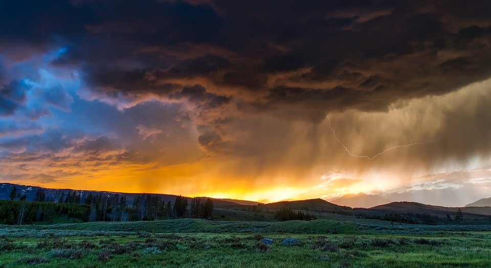 A lightning storm in Yellowstone National Park