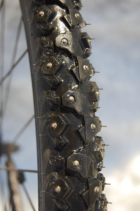 Knobby studded bike tires