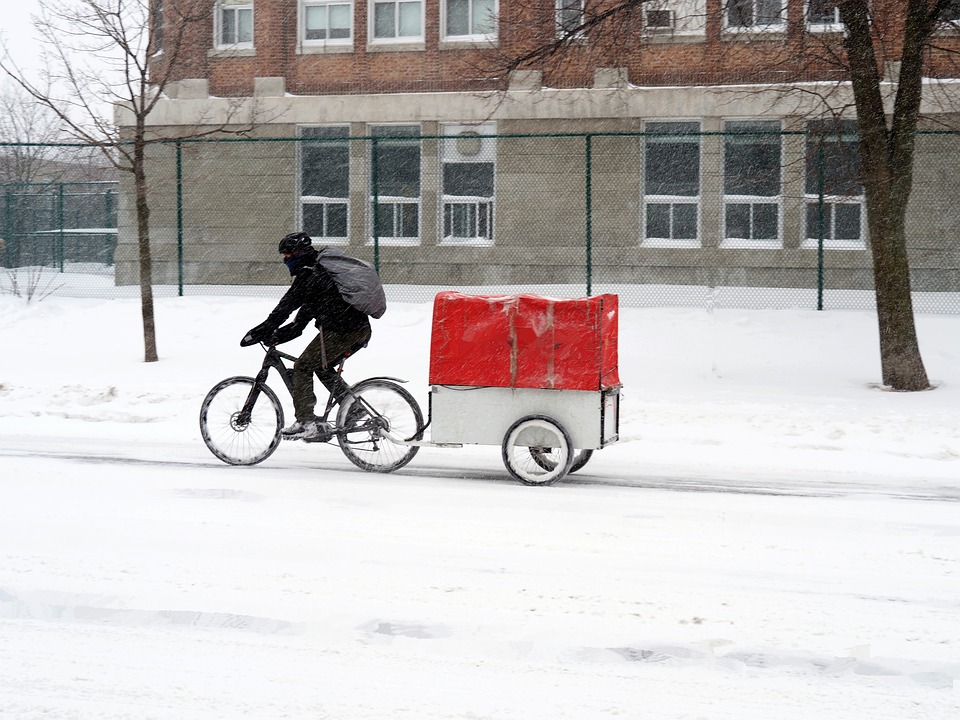 cycling in the snow with a trailer