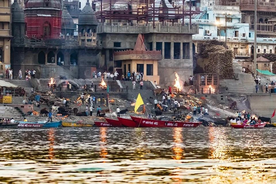 cremation area in Varanasi, India