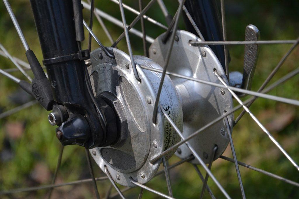 a dynamo hub installed in a wheel