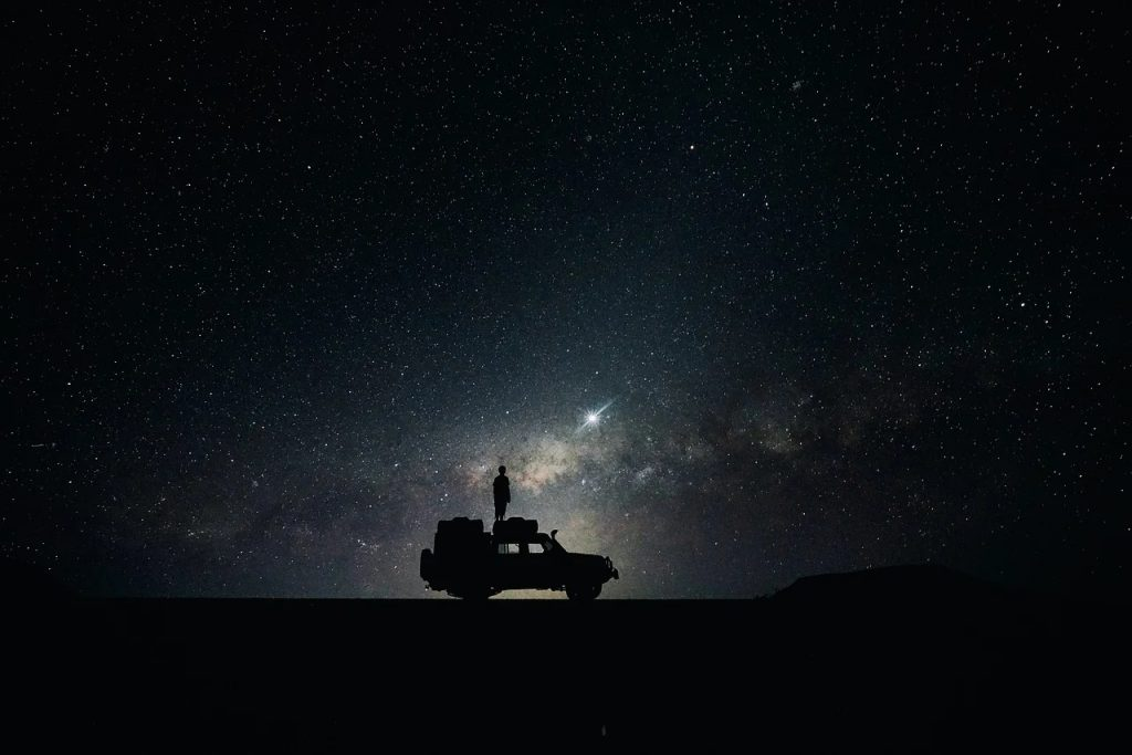 an car camper parked under the stars.