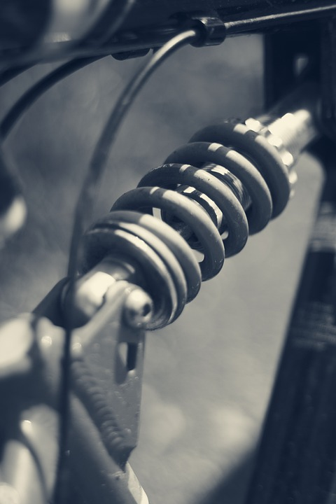 A close up view of a coil shock