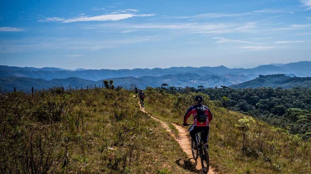 A mountain biker riding on a trail