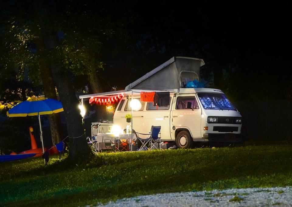 A van camping setup
