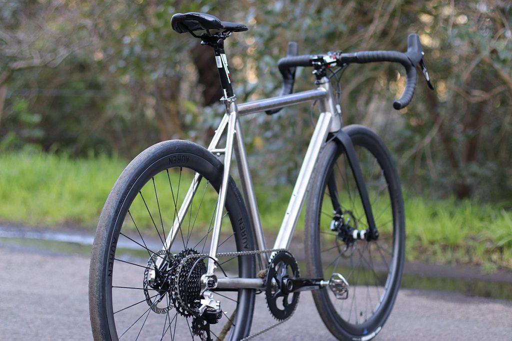 A titanium road bike